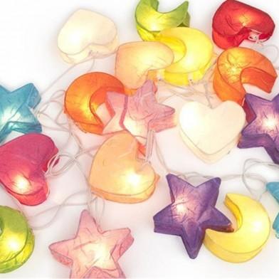 DreamLights-Lichterkette-Mond, Sterne, Herz, bunt
