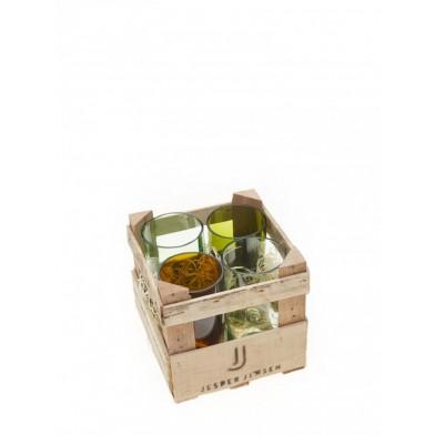 Gläser, groß- 4er Set in Holzbox