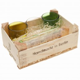 1 Karaffe & 3 Gläser in Holzbox